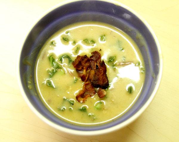 potato soup in a bowl
